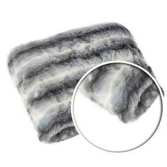 Narzuta na łóżko miękkie futerko pasy 150x180 cm stalowy - 150x180 - szary 4