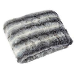 Narzuta na łóżko miękkie futerko pasy 150x180 cm stalowy - 150x180 - szary 1