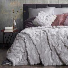 Narzuta na łóżko miękkie futerko 150x180 cm stalowa - 150 X 180 cm - stalowy 1