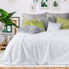 Narzuta na łóżko futerko 170x200 cm biała - 170x200 - biały 4