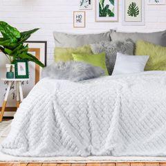 Narzuta na łóżko futerko 200x220 cm biała - 200x220 - biały 4