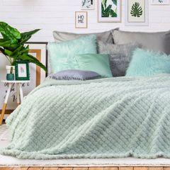 Narzuta na łóżko futerko 200x220 cm miętowa - 200 X 220 cm - miętowy 1