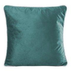 Poszewka na poduszkę welwetowa z lamówką 45 x 45 cm ciemno turkusowa - 45x45 - turkusowy 1
