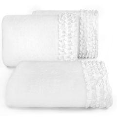 Ręcznik z bawełny z falbankami 70x140cm kremowy - 70 X 140 cm - kremowy 1
