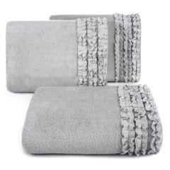 Ręcznik z bawełny z falbankami 70x140cm popielaty - 70 X 140 cm - srebrny 1