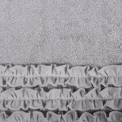 Ręcznik z bawełny z falbankami 70x140cm popielaty - 70 X 140 cm - srebrny 4