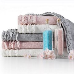 Ręcznik z bawełny z falbankami 50x90cm ciemnoróżowy - 50 X 90 cm - różowy 5