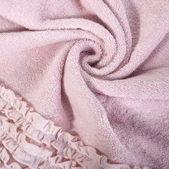 Ręcznik z bawełny z falbankami 50x90cm ciemnoróżowy - 50 X 90 cm - różowy 2