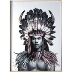 Obraz indianin etno drewno płótno 50 x 70 cm - 50 X 70 cm - biały/wielokolorowy 1