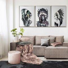 Obraz indianin etno drewno płótno 50 x 70 cm - 50 X 70 cm - biały/mix kolorów 3