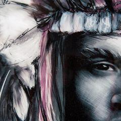 Obraz indianin etno drewno płótno 50 x 70 cm - 50 X 70 cm - biały/wielokolorowy 2
