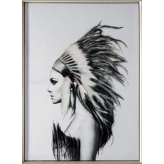 Obraz indianin etno drewno płótno 50 x 70 cm - 50 X 70 cm - biały/wielokolorowy 3