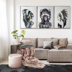 Obraz indianin etno drewno płótno 50 x 70 cm - 50 X 70 cm - biały/wielokolorowy 4