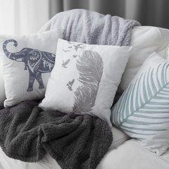 Poszewka na poduszkę 45 x 45 cm biała ze srebrnym piórem  - 45 X 45 cm - srebrny 3