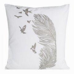 Poszewka na poduszkę 45 x 45 cm biała ze srebrnym piórem  - 45 X 45 cm - srebrny 1