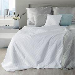 Narzuta na łóżko dwustronna welurowa 170x210 cm biało-srebrna - 170x210 - biały / srebrny  4