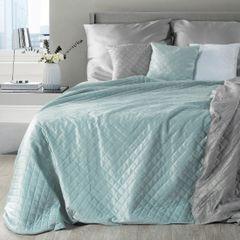 Narzuta na łóżko dwustronna pikowana hotpress 200x220 cm  - 200 X 220 cm - niebieski/srebrny 1