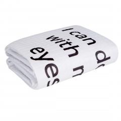 Narzuta na łóżko dwukolorowa z napisem 220x240 cm czarno-biała - 220x240 - biały / czarny 9