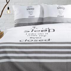 Narzuta na łóżko dwukolorowa z napisem 220x240 cm czarno-biała - 220x240 - biały / czarny 1