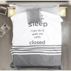 Narzuta na łóżko dwukolorowa z napisem 220x240 cm czarno-biała - 220x240 - biały / czarny 2