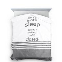 Narzuta na łóżko dwukolorowa z napisem 220x240 cm czarno-biała - 220x240 - biały / czarny 4