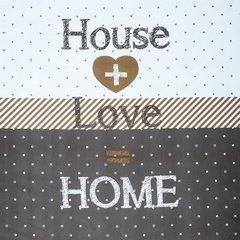 Komplet pościeli z MIKROFIBRY 160 x 200 cm, 2 szt. 70 x 80 cm, HOUSE + LOVE = HOME - 160x200+70x80/2 - grafitowy 1