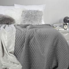 Pikowana narzuta na łóżko stalowy szary 200x220 cm - 200 X 220 cm - stalowy 1