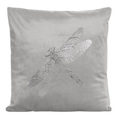 Poszewka na poduszkę srebrna ze srebrną ważką 45 x 45 cm  - 45 X 45 cm - srebrny 1