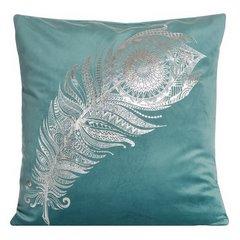Poszewka dekoracyjna na poduszkę 45 x 45 kolor turkusowy - 45 X 45 cm - turkusowy 1
