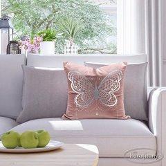 Poszewka na poduszkę różowa ze srebrnym motylem 45 x 45 cm  - 45x45 - różowy 3
