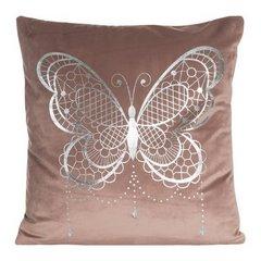Poszewka na poduszkę różowa ze srebrnym motylem 45 x 45 cm  - 45x45 - różowy 1