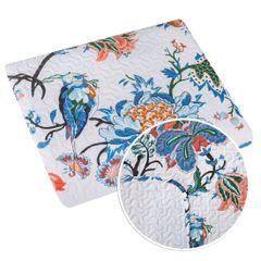 Narzuta pikowana kwiaty 200x220 cm - 200 X 220 cm - biały/niebieski/czerwony 8