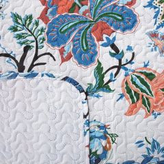 Narzuta pikowana kwiaty 200x220 cm - 200 X 220 cm - biały/niebieski/czerwony 3