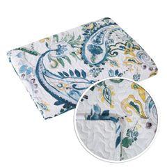 Narzuta na łóżko pikowana hotpress motyw roślinny 200x220 cm biało-niebieska - 200 X 220 cm - biały/niebieski/żółty 7