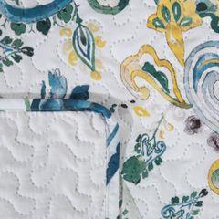 Narzuta na łóżko pikowana hotpress motyw roślinny 200x220 cm biało-niebieska - 200 X 220 cm - biały/niebieski/żółty 3