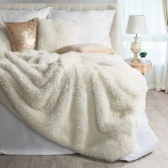 Narzuta na łóżko puszyste futerko 150x200 cm kremowa - 150 x 200 cm - kremowy/złoty 1