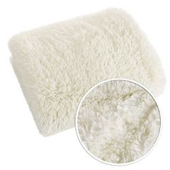 Narzuta na łóżko puszyste futerko 150x200 cm kremowa - 150 x 200 cm - kremowy/złoty 4