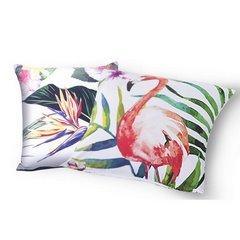 Poszewka na poduszkę z flamingiem 40 x 40 cm  - 40 X 40 cm - biały/mix kolorów 7