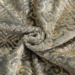 Elegancki koc z ornamentem stalowy i złoty 150x200cm - 150 X 200 cm - stalowy/złoty 5