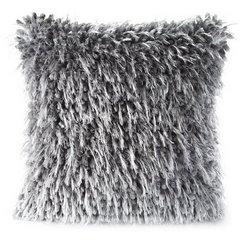 Poszewka na poduszkę 40 x 40 cm włochata stalowo szara  - 40 X 40 cm - stalowy 1
