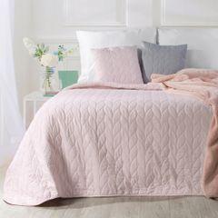 Narzuta na łóżko pikowana warkocz 200x220 cm różowa - 200 X 220 cm - j.różowy 1