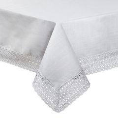 Srebrny obrus do jadalni z gipiurą 150x300 cm - 150 X 300 cm - Srebrny 1