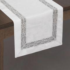 Srebrny bieżnik z aplikacją z gipiury 40x140 cm - 40 X 140 cm - biały/srebrny 2