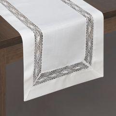 Biały bieżnik na stół do jadalni z mereżką 40x140 cm - 40 X 140 cm - biały 1