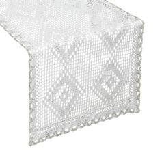 Koronkowy bieżnik na stół biały srebrny 40x140 cm - 40 X 140 cm - biały 1
