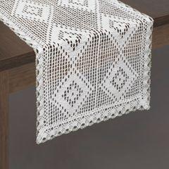 Koronkowy bieżnik na stół biały srebrny 40x140 cm - 40 X 140 cm - biały 2