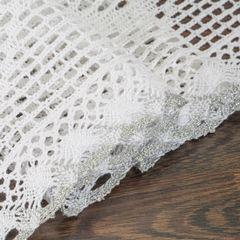 Koronkowy bieżnik na stół biały srebrny 40x140 cm - 40 X 140 cm - biały 3