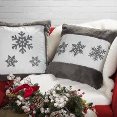 Poszewka na poduszkę śnieżynki 45 x 45cm szaro-biała - 45x45 - różowy 2
