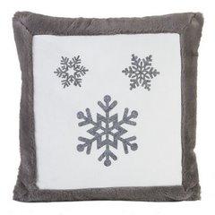 Poszewka na poduszkę śnieżynka 45 x 45cm szaro-biała - 45x45 - różowy 1