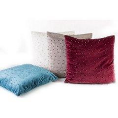 Poszewka na poduszkę 45 x 45 cm biała błyszcząca z perełkami  - 45x45 - kremowy 2